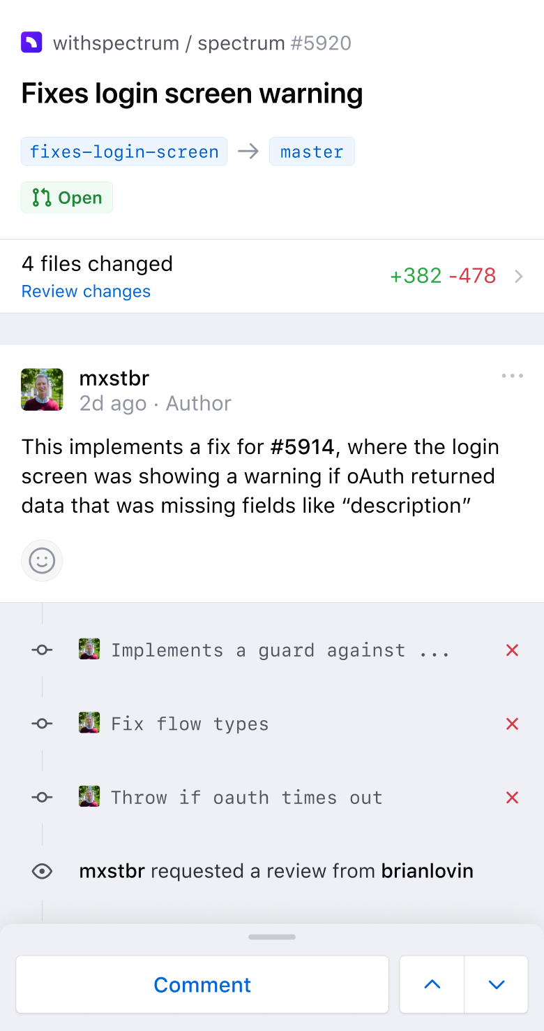 Pull request comment