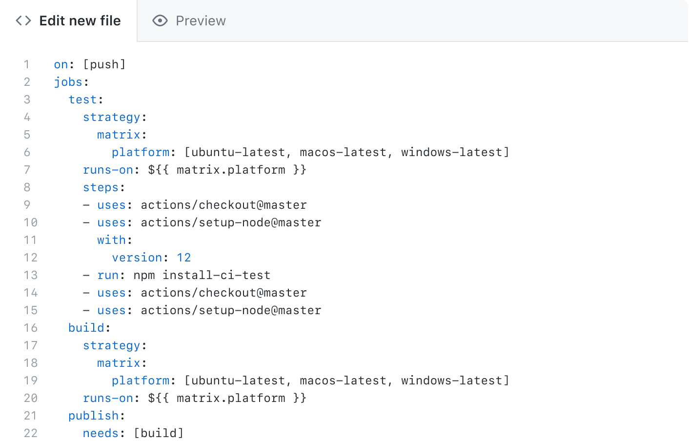 The GitHub Actions workflow editor