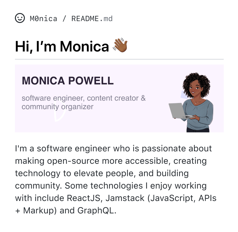 GitHub profile README for @M0nica