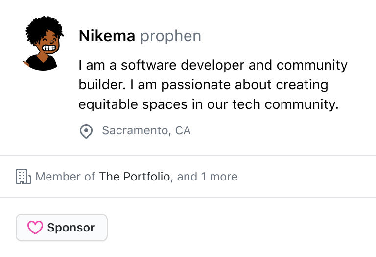 GitHub profile card for @prophen