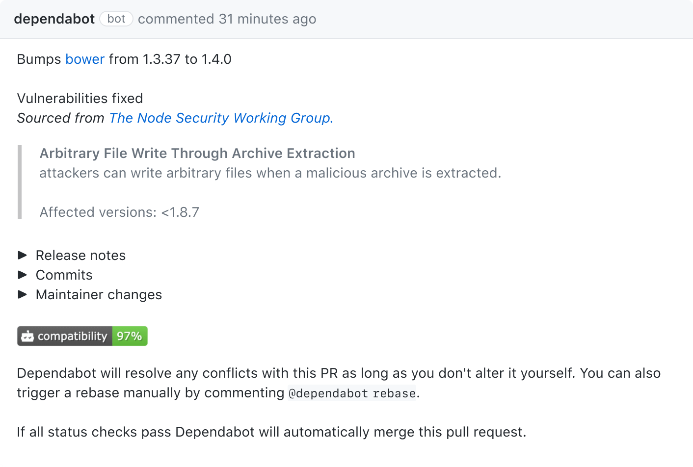 Automated pull request that updates a dependency in your repository