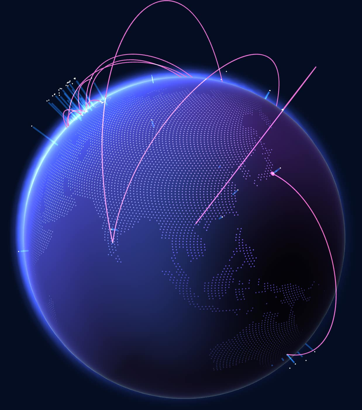 Planet earth with visualization of GitHub activity crossing the globe