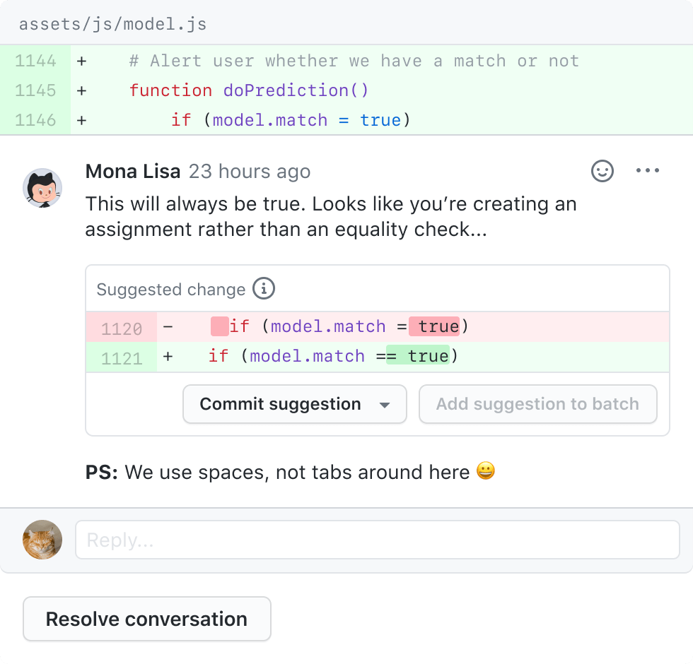 Pull request comment on GitHub